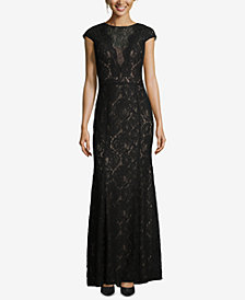 XSCAPE Allover Lace Evening Gown