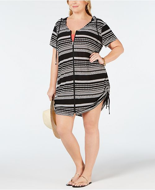 1135be466c2 Dotti Plus Size Ibiza Striped Hoodie Cover-Up & Reviews - Swimwear ...