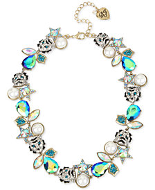 "Betsey Johnson Two-Tone Mixed Stone & Imitation Pearl Tiger Collar Necklace, 16"" + 3"" extender"