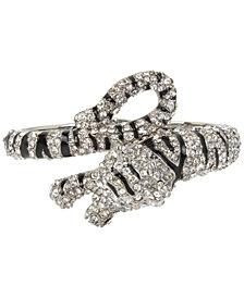 Betsey Johnson Hematite-Tone Enamel & Crystal Tiger Hinged Bangle Bracelet