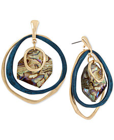 Robert Lee Morris Soho Gold-Tone & Patina Abalone-Look Orbital Drop Earrings