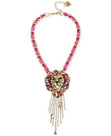 "Betsey Johnson Gold-Tone Crystal Lion Fringe Pendant Necklace, 16"" + 3"" extender"