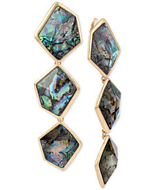 Robert Lee Morris Soho Gold-Tone Abalone-Look Triple Drop Earrings
