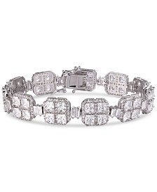 Tiara Cubic Zirconia Quad Cluster Link Statement Bracelet in Sterling Silver