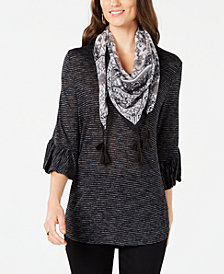 Style & Co Bell-Sleeve Scarf Top, Created for Macy's