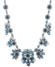 "Givenchy Hematite-Tone Blue Crystal Collar Necklace, 16"" + 3"" extender"