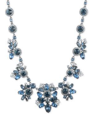 "Hematite-Tone Blue Crystal Collar Necklace, 16"" + 3"" Extender"