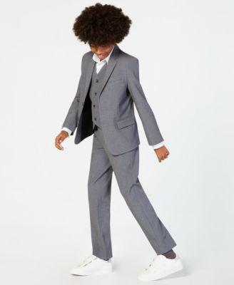 Boys slim fit suit navy dark blue formal easter complete set long tie vest pant