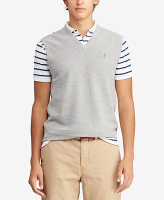 Polo Ralph Lauren Mens V Neck Cotton Sweater Vest Sweaters Men