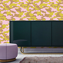 Cynthia Rowley for Tempaper Glammo Pink, Lemon & Gold Self-Adhesive Wallpaper