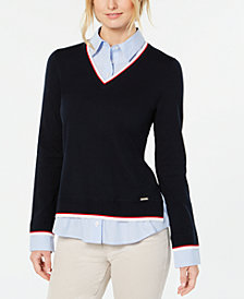Tommy Hilfiger Layered-Look Striped-Trim Sweater, Created for Macy's