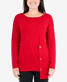 NY Collection Petite Asymmetrical Button-Hem Sweater