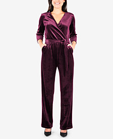 NY Collection Petite Faux-Wrap Velvet Jumpsuit