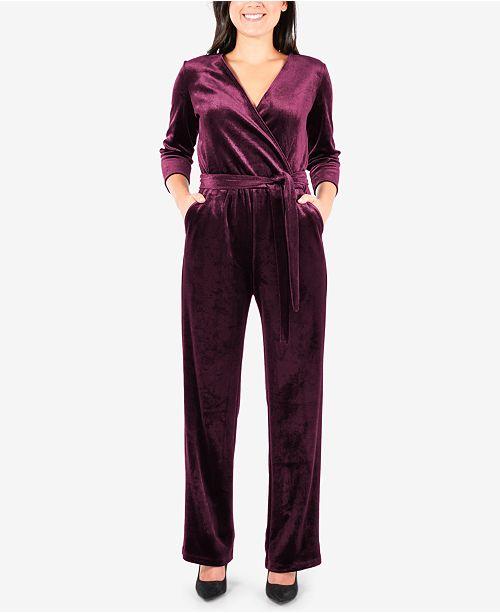 d6ce6cdf679 NY Collection Petite Faux-Wrap Velvet Jumpsuit   Reviews - Pants ...