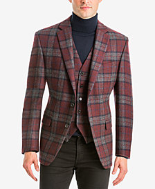 Lauren Ralph Lauren Men's Classic-Fit Burgundy/Gray Tartan Plaid Wool Matching Jacket and Vest