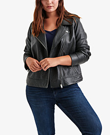 Lucky Brand Trendy Plus Size Leather Moto Jacket