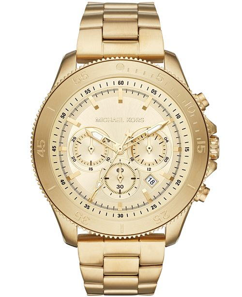 Michael Kors Men's Chronograph Theroux Gold-Tone Stainless Steel Bracelet Watch 44.5mm