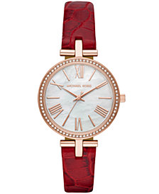 Michael Kors Women's Maci Red Leather Strap Watch 34mm