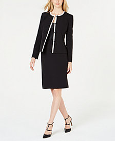 Le Suit Petite Piped Jacket Skirt Suit