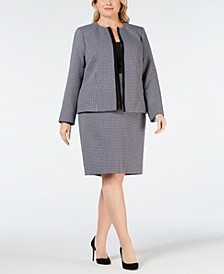Plus Size Plaid Flyaway Skirt Suit