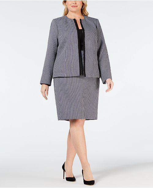 Plus Size Plaid Flyaway Skirt Suit