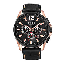 Men's ESQ0140 Two-Tone Stainless Steel Chronograph Bracelet Watch, Black Dial
