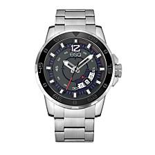 Men's Stainless Steel Silver-Tone Bracelet Watch with Date Window