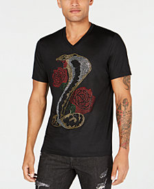 I.N.C. Men's Rhinestone Cobra & Roses Graphic T-Shirt, Created for Macy's