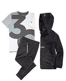 Under Armour Big Boys SC30 Windwear Top, SC30-Print T-Shirt & Pennant Tapered Pants
