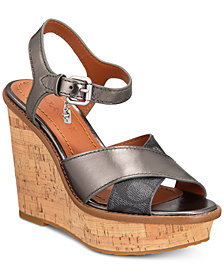 COACH Cross-Band High-Wedge Sandals