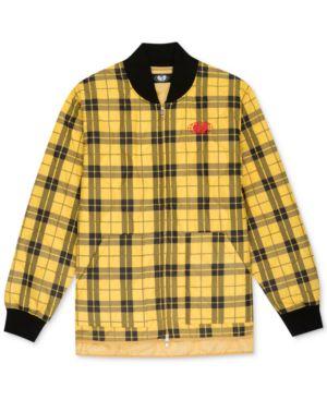 WU WEAR Men'S Plaid Global Work Jacket in Gold/Black Plaid