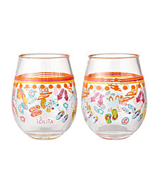 Enesco Lolita Flip Flops 2-Pc. Stemless Wine Glass Set