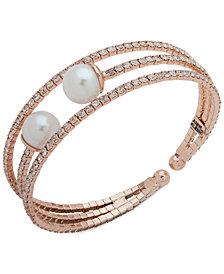 Anne Klein Pavé & Imitation Pearl Triple-Row Cuff Bracelet
