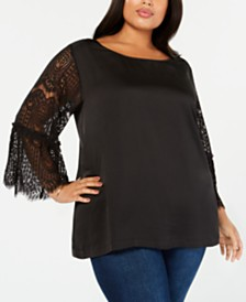 John Paul Richard Plus Size Lace-Sleeve Top