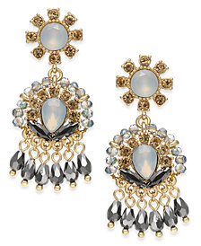 I.N.C. Gold-Tone Crystal & Stone Shaky Drop Earrings, Created for Macy's