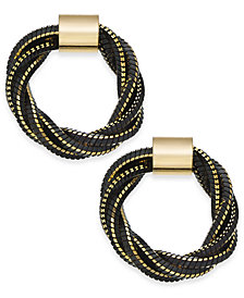 "Thalia Sodi Medium Gold-Tone Black Twisted Chain Circle Earrings, 1.1"", Created for Macy's"