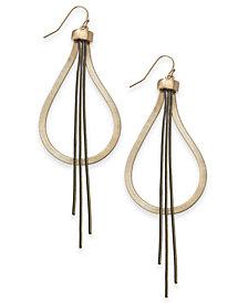 "Thalia Sodi Extra Large Gold-Tone Black Fringe Teardrop Earrings, 3"", Created for Macy's"