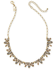 "I.N.C. Gold-Tone Neutral Stone Frontal Necklace, 17"" + 3"" extender, Created for Macy's"