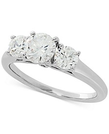 Lab Grown Diamond Three-Stone Engagement Ring (1-1/2 ct. t.w.) in 14k White Gold