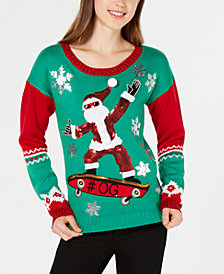 Hooked Up by IOT Juniors' Skateboarding Santa Sweater