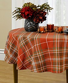 "Loden Plaid 70"" Round Tablecloth"