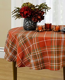 "Elrene Loden Plaid 70"" Round Tablecloth"