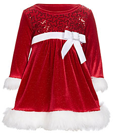 Bonnie Baby Baby Girls Faux-Fur Trim Santa Dress