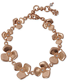 Lucky Brand Rose Crystal Flower Link Bracelet
