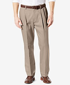 Men's Signature Lux Cotton Classic Fit Pleated Creased Stretch Khaki Pants
