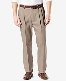 NEW Dockers Men's Signature Lux Cotton Classic Fit Pleated Stretch Khaki Pants