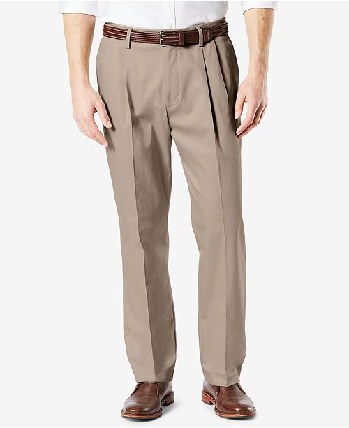Dockers Men's Signature Lux Cotton Classic Fit Pleated Creased Stretch Khaki Pants
