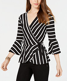 BCX Juniors' Striped Bell-Sleeve Wrap Top