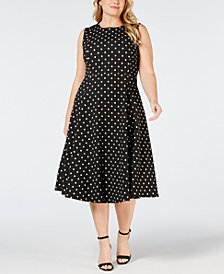 Clavin Klein Plus Size Polka Dot-Print Fit & Flare Dress