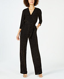 NY Collection Petite Metallic-Striped Jumpsuit